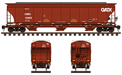 Side and front view of cylindrical 3-bay covered hopper car for carriage of grain cargo. High-quality color drawing with all technical parameters, marks, inscriptions, instructions for safe handling and hand brake. EDITORIAL USE