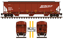 Side and front view of railroad 3-bay covered hopper car built by Trinity Industries Inc. Red livery of Burlington Northern Santa Fe Railway. Details -  technical parameters, yellow marks, inscriptions, instructions for safe handling and hand brake. EDITORIAL USE