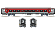 Side and front view of brand new Linke Hofmann Busch sleeper car used by express train number 12947 from Azimabad to Patna during 2018 year. Reporting mark - WR - Western Railway zone of Indian Railways. Vector graphics with all details and technical inscriptions in Hindi and English. EDITORIAL USE
