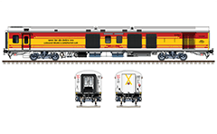 Side and front view with modern LHB power coach. He provide electricity for the passenger cars Linke Hofmann Busch in Indian express trains. He has also a storage section of a luggage until it 3.9 tonnes. Two such wagons are located at the beginning and end of the train composition. EDITORIAL USE