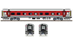 Side and front view with air-conditioned Linke Hofmann Busch coach in red-gray livery - combination of AC 1-st class and AC 2- tier sleeper. Reporting mark WC - West Central Railway zone of Indian Railways. Excellent color drawing with many details and technical inscriptions in Hindi and English. EDITORIAL USE