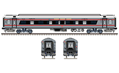 "Side and front view of Indian AC 3-tier Linke Hofmann Busch sleeper. Stylish gray livery with two horizontal red stripes. Reporting mark SW - South Western Railway zone of Indian Railways. On WC windows have a glued sticker - ""Coach manufactured by ICF with 100% green energy"". EDITORIAL USE"