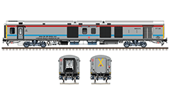 Side and front view with LHB power car in gray livery with red and sky blue stripes. Reporting mark SR - Southern Railway zone of Indian Railways. Details - IR circular logo, diesel tanks, air brake systems, water pump, bio toilet, all technical inscriptions in Hindi and English, and others. EDITORIAL USE