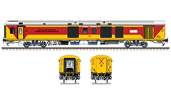 "Side and front view with LHB ""Luggage, brake and generator car"" in yellow livery with wide horizontal red stripe. Reporting mark NE - North Eastern Railway zone of Indian Railways. Route plate of train number 12583/ 12584 Lucknow Jn. – Anand Vihar Terminal AC Double Decker Express. EDITORIAL USE"