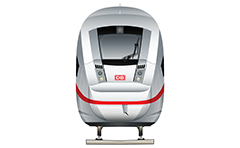 High-speed passenger train for long-distance used by Deutsche Bahn AG (The German Railways) - front view. Standard track gauge 1 435 mm and maximum speed 250 km/h. Details - wheels, lights, logo of DB and red horizontal stripe. High-quality vector icon suitable for infographic design.  EDITORIAL USE