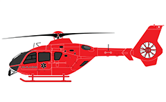 Flat infographic icon of mountain rescue helicopter. Detailed side view with medical sign snake and text of Swiss company Air-Glaciers.