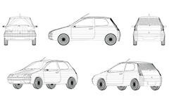 Wire model of small two-door automobile, made in Italy. Compact and economical vehicle. Front, rear, side and axonometric view.