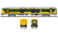 Side and front view with Indian Linke Hofmann Busch power car used by Double Decker AC train Bangalore city-Chennai Express. Reporting mark - SR - Southern Railway zone of Indian Railways. Super detailed vector illustration. EDITORIAL USE