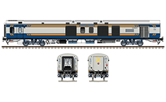 Side and front view with Indian Linke Hofmann Busch power car used by luxury high-speed Tejas Express train. Dark blue-silver livery with yellow stripes from February 2017. Reporting mark NR - Northern Railway zone of Indian Railways. High-quality and detailed vector illustration. EDITORIAL USE