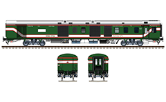 Side and front view with Indian Generator EOG coach in colors of Bangladesh Railway - green livery with white-red stripes. High-quality vector illustration with many detail and technical inscriptions in Bengali and English. Intercity express. EDITORIAL USE