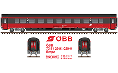 Side and front view with Austrian passenger railway wagon Bmpz type. Chair car with seats second class. All technical inscriptions and designations are under standard of the International Union of Railways- UIC. Red-dark-gray livery of ÖBB- Österreichische Bundesbahnen. EDITORIAL USE