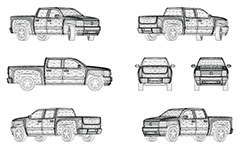 Wire model of big pickup truck, manufactured in the USA. The vehicle has four doors, spacious and an open cargo area with low sides. Front, rear, side and axonometric view.