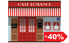 Vector illustration with front view of urban coffeehouse.