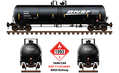 Side and front view with DOT 111 - General service tank car 20,900 Gallon. Reporting mark BNSF and flammable liquid placard with number UN 1993 for Hazardous material shipping. Detailed vector illustration with all signs and technical inscriptions. EDITORIAL USE