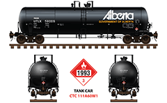 Side and front view with Canadian tank car CTC - 111A for transport of diesel fuel. Reporting mark Union Tank Car Company and placard for Hazardous goods shipping - number UN 1993. EDITORIAL USE