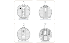Vector set with four icons of exterior sauna - front view. Spa and wellness - wooden constructions. Illustration easy can be modified or colored.