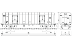 CAD drawing of high-speed boxcar used for transport of packaged goods by Indian Railways. Details- bogie CASNUB 22HS , air hoses, CBC couplers, doors, all technical inscriptions and dimensions of car in millimeters.