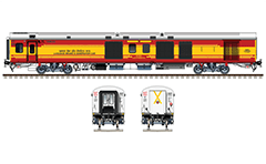 "Side and front view with modern Linke Hofmann Busch coach used like a ""luggage, brake and generator"". Reporting mark WR- Western Railway zone of Indian Railways. EDITORIAL USE"