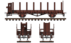 Side and front view of platform wagon in livery of the Royal Saxon State Railways. Brake cabin is located at the end of the car and serves as a shelter for brakeman from adverse atmospheric conditions.Original Prussian design with all technical inscriptions.