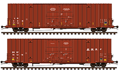 Side view of American covered boxcars for transport of packed materials. Details - colors of AOK and  Burlington Northern Santa Fe Railway company, double sliding doors, couplers, stairs, air brake system, all technical inscriptions and signs for service handling. EDITORIAL USE