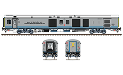 Side and front view with Indian EoG (End-on-Generation) power coach. Detailed vector illustration with Linke Hofmann Busch van- Luggage, brake and generator car. Reporting mark SR - Southern Railway zone of Indian Railways. EDITORIAL USE