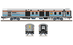 Side and front view with LHB generator coach. Classic gray livery with horizontal sky-blue and red stripe. Luggage, brake and generator van used by the train from Bandra Terminus to Hazrat Nizamuddin. Reporting mark WR - Western Railway zone of Indian Railways. EDITORIAL USE