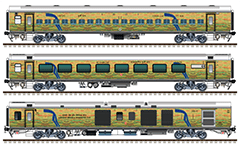 Set with the rolling stock of train 12065 in Duronto yellow-green livery. LHB coaches in composition: EOG - 6 non AC chair cars - 1 AC chair car - EOG. Reporting mark NWR - North Western Railway zone of Indian Railways. EDITORIAL USE
