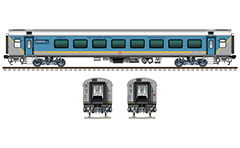 Side and front view with LHB executive class air-conditioned coach. Sky blue-gray livery with yellow horizontal band designating high-speed train. Maximum speed of LWFCZ AC car type is 160 km/h. Reporting mark NR - Northern Railway zone of Indian Railways. EDITORIAL USE