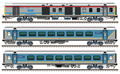 Side view of the rolling stock of semi-high speed train from Hazrat Nizamuddin to Agra Cantt. Composition with Linke Hofmann Busch coaches: 2 EOG power van, 8 AC chair car and 2 Executive first AC chair car. Reporting mark NWR - North Western Railway zone of Indian Railways. EDITORIAL USE