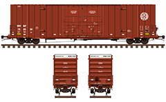 Side and front view with Gunderson boxcar 60 ft. Classic red livery with white endings. Reporting mark BNSF railway company. Detailed and realistic vector illustration with all technical inscriptions and signs. EDITORIAL USE