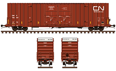 Side and front view with Gunderson boxcar in red livery with white endings. Reporting mark DWC CN railway company. Detailed vector illustration with all technical inscriptions and signs. EDITORIAL USE