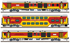 Side view with rolling stock of the double decker train 12583/12584 from Lucknow Junction to Anand Vihar Terminal. Composition with fully air-conditioned Linke Hofmann Busch coaches: 2 EOG power vans and 8 AC DD chair cars. Reporting mark NE - North Eastern Railway zone of Indian Railways. EDITORIAL USE