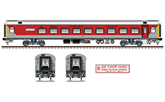 Side and front view with Linke-Hofmann-Busch pantry coach. Reporting mark WR - Western Railway zone of Indian Railways. Detail- route plate with inscriptions in Hindi and English for name of an express train. EDITORIAL USE