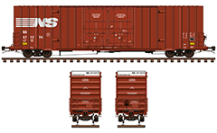 Side and front view with Gunderson type boxcar. Reporting mark NS Railway company. Classic red livery with white endings. Vector illustration with all technical inscriptions in English and signs for maintenance. Rolling stock for a modern American freight train. EDITORIAL USE