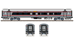 Side and front view of Indian LHB sleeper. Air-Conditioned coach LWACCN type with 52 seats/berths and 2A class. Silver livery with two red bands. Reporting mark SW - South Western Railway zone of Indian Railways. Coach manufactured by ICF with 100% green energy. EDITORIAL USE