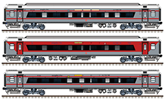 Side view of Indian passenger cars with wide panoramic window Class 2A and Class 3A. Linke Hofmann Busch sleepers in classic red-gray livery and new silver color scheme with two red bands. Reporting marks - SW and SR - South Western and South zones of Indian Railways. EDITORIAL USE