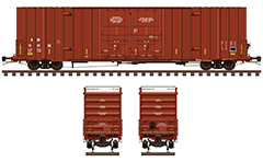 Vector illustration with American Gunderson type boxcar. Reporting mark Arkansas–Oklahoma Railroad. Red livery with white endings.  Side and front view with all technical inscriptions in English. EDITORIAL USE