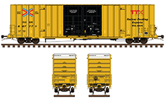 "Side and front view with high cube box car - plate ""F"". Reporting mark TBOX - Formerly TrailerTrain Company. Yellow paint, white endings and black double plug doors. Vector illustration with all technical inscriptions and signs for maintenance. Transport of packaged goods and loads. EDITORIAL USE"