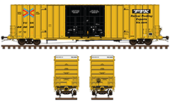 Side and front view with high cube railroad box car. Yellow livery, white endings, black double plug doors and reporting mark TBOX - Formerly Trailer Train Company. High-quality vector illustration with all signs for maintenance and black logo of TTX. EDITORIAL USE
