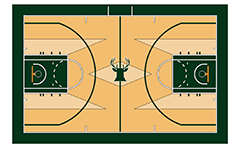 Vector illustration of the basketball court on team Мilwaukee bucks from NBA. Top view. The artwork is to scale and may be used as a template and easy to modify