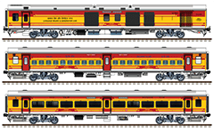 Side view with rolling stock of train number 22885/22886 connecting Lokmanya Tilak Terminus (LTT) in Maharashtra and Tatanagar Junction (TATA) in Jharkhand. Composition contain 2 EOG power vans and 16 General seat cars. Reporting mark SER - South Eastern Railway zone of Indian Railways. EDITORIAL USE