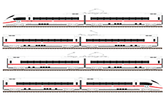 Side view with trainset of eight Siemens Velaro family cars. Electric Multiple Units by Intercity-Express 3 operated in Germany for Deutsche Bahn AG. Technical outline diagram with detailed bogies, links and pantographs. EDITORIAL USE