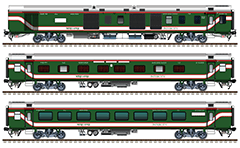 Side view with rolling stock of international train connecting Bangladesh and India. Composition contain modern indian 2 EOG power vans, 4 AC sleepers (Class - 1A CC) and 4 AC chair cars. Green painted coaches with red-white stripes and reporting mark of BR - Bangla Rail. EDITORIAL USE