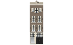 Colored an architectural facade of urban house from the center of Amsterdam city, Netherlands. Classic Lijstgevel with decorative cornice all over the facade. Such layout shows that this building is from the 19th century. The gable roof is visible above the frontal cornice.