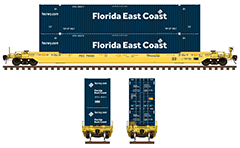Side and front view with all-purpose 53 foot long double-stack well railcar for transporting of intermodal containers. Details- all technical inscriptions and designations, two high cube domestic cargo containers with big letters logo. Reporting mark FEC- Florida East Coast Railway. EDITORIAL USE
