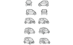 Wireframe model of tiny two-seat city car. Front, rear, side and axonometric view.