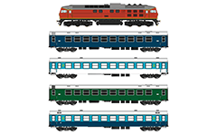Vector illustration of a diesel locomotive and coaches used by the Bulgarian State Railways. The engine is known as Ludmilla in former USSR serie ТЭ109, BR 232 in Germany and serie 07 in Bulgaria. The collection contains ordinary and sleeping cars who allow passengers to sleep through their night-time trips. The wagons are used as part of the rolling stock of ordinary passenger and express trains. Isolated objects on white background.