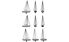 Vector drawing with wire model of boat in orthogonal projections - side, front, back and axonometric view. Watercraft presentation without keel and lifted sails. Isolated objects on white background.