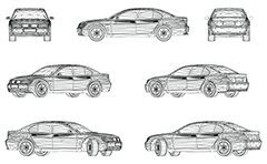 Wire model of luxury car produced in Germany. Sleek and aerodynamic design and Business class. Front, rear, side and axonometric view.