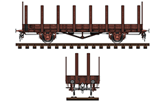 Side and front view of platform freight wagon manufactured in Kingdom of Saxony (1913-1927). Designed with large volume and wooden stanchions.